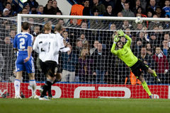 Chelsea. LONDON, ENGLAND. 06 DECEMBER 2011. Chelsea's Czech Goalkeeper Petr Cech in action during the UEFA Champions League match between Chelsea and Valencia Stock Photos