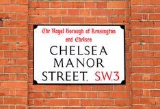Chelsea Manor Street Sign, Londra Fotografie Stock Libere da Diritti