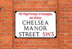 Chelsea Manor Street Sign, Londres Fotos de archivo libres de regalías