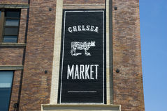 Chelsea Market banner on brownstone building in New York City Stock Image