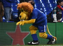 Chelsea mascots Stamford. Football players pictured during the UEFA Champions League Group C game between Chelsea FC and Atletico Madrid on December 5, 2017 at Stock Photography
