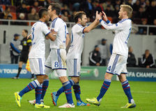 Chelsea players celebrate goal in UEFA Champions League game Royalty Free Stock Photography