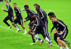 Chelsea players during UEFA Champions League official training. Chelsea's players pictured in action during the official training held with the ocasion of UEFA Stock Photos