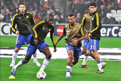 Chelsea players are warming up Royalty Free Stock Photos
