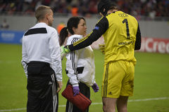 Chelsea's doctor Eva Carneiro and Petr Cech. Eva Carneiro, first team doctor of Chelsea London, sports medicine specialist and Petr Cech pictured during the Uefa Stock Photography