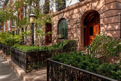 Chelsea townhouses and front yards, NYC Royalty Free Stock Photo