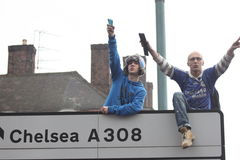 Chelsea victory parade spectators Royalty Free Stock Photo