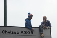 Chelsea victory parade spectators. Supporters of Chelsea football club during the victory parade after Chelsea have won UEFA Champions League, London, 20.05.2012 Royalty Free Stock Photography