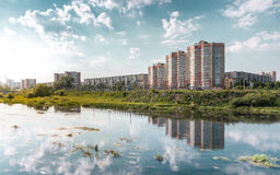 Chelyabinsk city landscape with a blue sky and Miass river. Chelyabinsk city architecture view and miass river Royalty Free Stock Photos