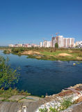 Chelyabinsk city with river view in sunny day Stock Photography