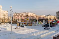 At the center of the Chelyabinsk city in winter time Royalty Free Stock Images