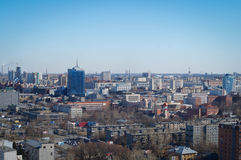 Chelyabinsk cityscape. Chelyabinsk-city from above. On this photo you can see Chelyabinsk business zone and industrial zone Royalty Free Stock Photos