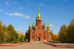 Chelyabinsk, Rússia - em setembro de 2018: Alexander Nevsky Church anteriormente o órgão Salão imagens de stock