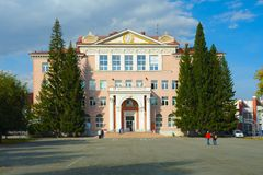 Chelyabinsk, Rússia - em setembro de 2018: Palácio dos pioneiros e dos alunos nomeados após N K Krupskaya fotografia de stock