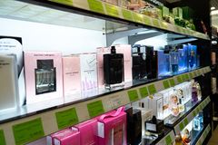 Chelyabinsk Region, Russia - August 2019: shelves with goods in a perfume store