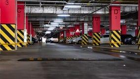 Chelyabinsk Region, Russia - August 2019. Underground parking of the Shopping Center. Parking garage underground, industrial