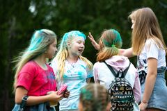 Chelyabinsk Region, Russia - JULY 2019. Children of different nationalities are friends at the festival of colors