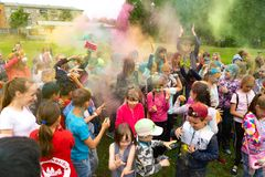 Chelyabinsk Region, Russia - JULY 2019. Children of different nationalities are friends at the festival of colors. Holiday in the