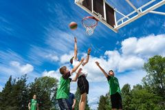 Chelyabinsk Region, Russia - June 2019. Basketball players in action on court stock images