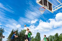 Chelyabinsk Region, Russia - June 2019. Basketball players in action on court