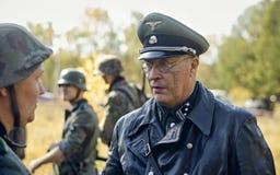 CHELYABINSK ROSJA, WRZESIEŃ, - 24, 2016: Dziejowy reenactment druga wojna światowa, Niemiecki oficer Zdjęcie Stock