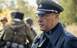 CHELYABINSK ROSJA, WRZESIEŃ, - 24, 2016: Dziejowy reenactment druga wojna światowa, Niemiecki oficer Zdjęcie Royalty Free