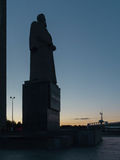 Monument to Kurchatov at night in Chelyabinsk city in Russia Royalty Free Stock Photos
