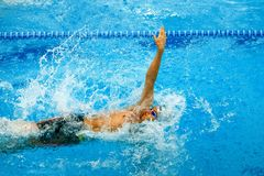 Athlete swimmer swimming backstroke in pool. Chelyabinsk, Russia - March 13, 2018: athlete swimmer swimming backstroke in pool during Championship Ural Federal Stock Photo