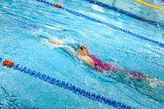 Female swimmer swimming backstroke in pool. Chelyabinsk, Russia - March 13, 2018: female swimmer swimming backstroke in pool during Championship Ural Federal Royalty Free Stock Photography