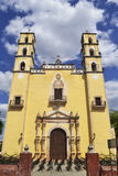 Mexican church in Chemax, Yucatan. Church in Chemax Yucatan. Everything is set for  the traditional Mass and celebration of a wedding Stock Images