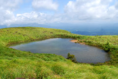 Chembra peak lake. Chembra Peak is the highest peak in Wayanad, at 2,050 m above sea level. Chembra is located near the town of Meppady and is 8 km south of Stock Photography
