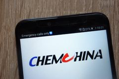 ChemChina logo displayed on a modern smartphone royalty free stock photography
