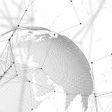 Chemia wzór, molekuły struktura, złączone linie i kropki, tła kuli ziemskiej biel świat globalna sieć ilustracji