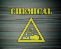 Chemical 01. Yellow chemical alert with sign Royalty Free Stock Image