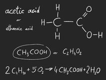 Chemical - Acetic Acid. Acetic acid ethanoic acid - organic chemistry lesson Stock Photo