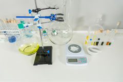 Chemical analysis glassware with measuring apparatus in laborato. Ry. Healthcare and biotechnology concept Stock Image