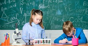 Chemical analysis. Kids busy study chemistry. School chemistry lesson. School laboratory. Girl and boy smart students royalty free stock photo