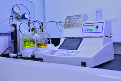 Chemical analysis, Laboratory equipment. Royalty Free Stock Images