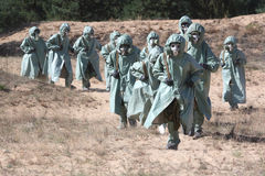 Chemical attack. Group of people in protective suits Royalty Free Stock Photography