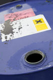 Chemical barrel. Open chemical barrel with warning labels Stock Images