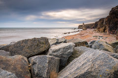 Chemical Beach at Seaham. Dawdon Chemical Beach, got its name from the former Seaham Chemical Works and is located on the Durham coastline south of Seaham, with royalty free stock image