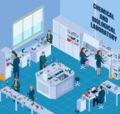 Chemical Biological Laboratory Isometric Illustration stock illustration