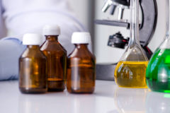 The chemical bottles in the lab Stock Photos