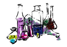 Chemical bottles. Of various shapes and sizes with colored liquids in them. Digital drawing Royalty Free Stock Images