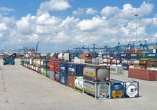 Chemical bulk tanks. Area with chemical bulk tanks in the Rotterdam harbor area. From here they are shipped on trains royalty free stock photo