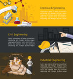 Chemical, civil, ndustrial engineering education infographic Royalty Free Stock Image