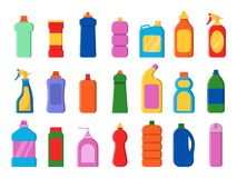 Chemical clean bottles. Detergent sanitary laundry cleaner service containers antiseptic vector flat pictures. Illustration of bottle detergent, container with vector illustration