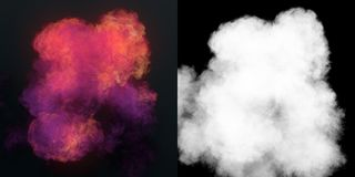 Chemical cloud of pink smoke mixing on black background 3d rendering. Chemical cloud of pink smoke mixing on black background with alpha channel. 3d rendering vector illustration