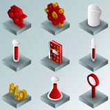 Chemical color gradient isometric icons royalty free illustration