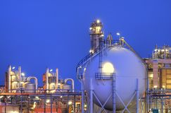 Chemical Complex. Part of a large chemical industrial complex, photographed after sunset Royalty Free Stock Photos